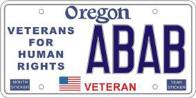 State of Oregon Veterans for Human Rights Liscense Plate